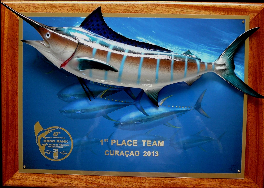 "20"" blue marlin on a photo plaque with gold laser engraving"
