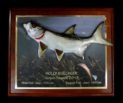"16"" Tarpon on a Rosewood ""piano Finish"" Plaque with Gold Laser Engraving"